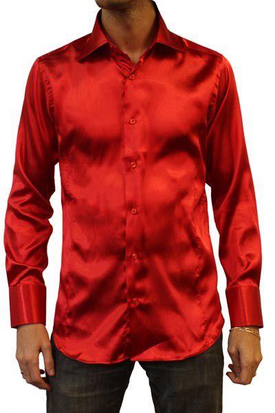 chemises  chemise cintre en satin Rouge