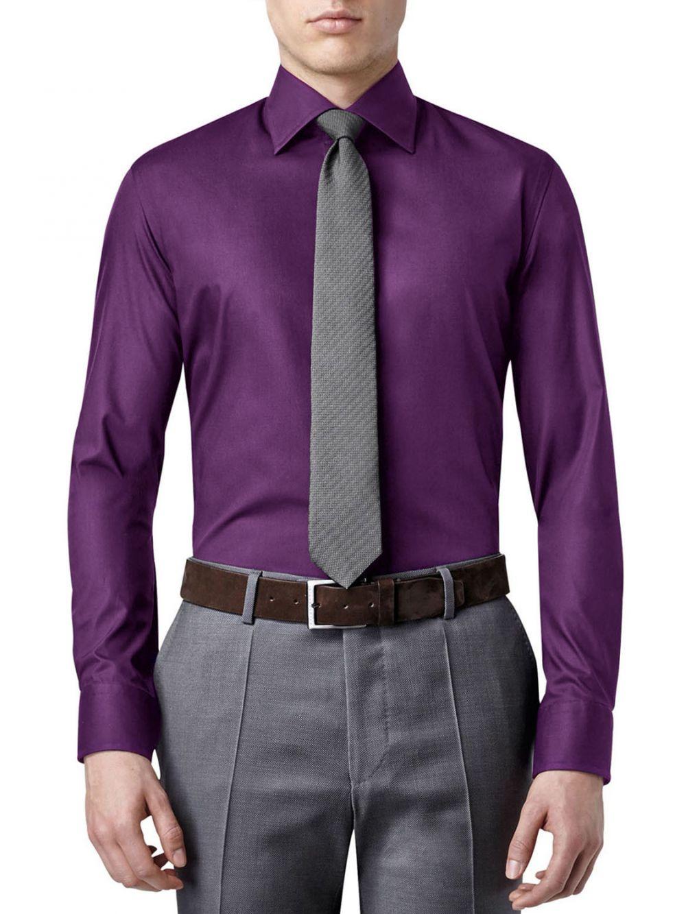 chemise aron couleur violet pas cher kebello com. Black Bedroom Furniture Sets. Home Design Ideas