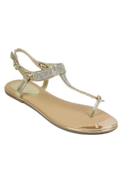 Kebello Sandales à strass Doré - Livraison Gratuite avec  - Chaussures Sandale Femme