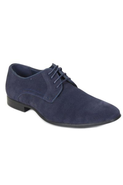 Kebello Derbies aspect daim et vernis bleu - Livraison Gratuite avec - Chaussures Richelieu Homme