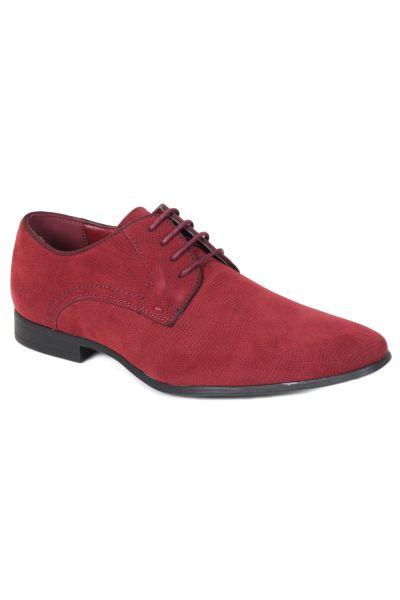 Kebello Derbies aspect lézard rouge - Livraison Gratuite avec - Chaussures Richelieu Homme