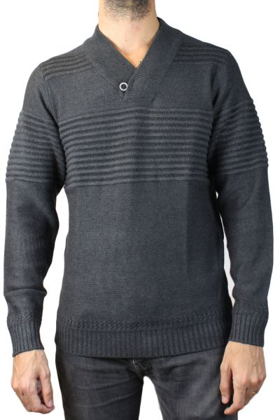 14f44cf94f345 Pull col V - Anthra. Pull homme anthracite RM60569