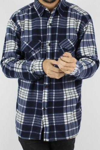 Chemise polaire bleu et blanc pour homme