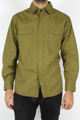 Chemise militaire vert à motifs