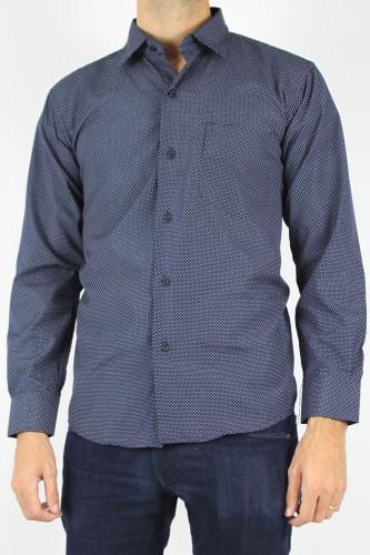 Chemise bleu marine à points