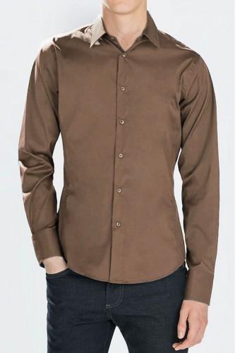 Chemise marron classique pour homme