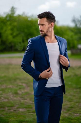 Veste blazer deux boutons bleu
