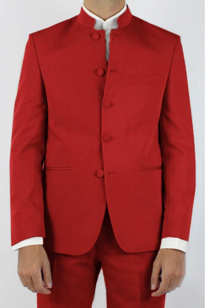 Veste rouge col mao