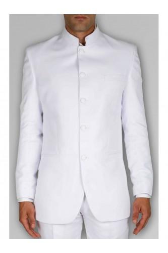 Veste blanche col mao