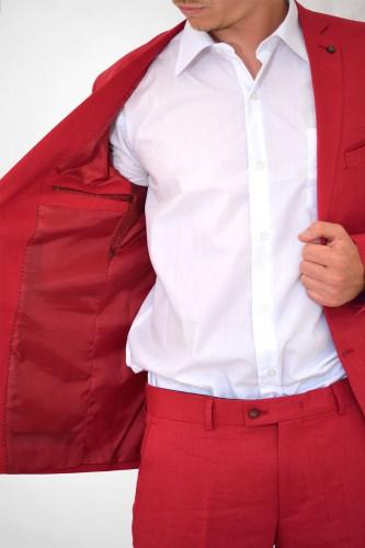 Veste rouge en lin