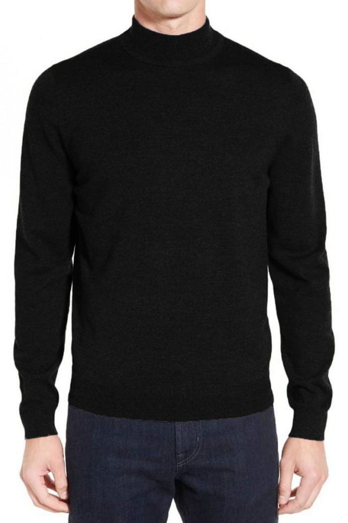 Pull noir en laine col cheminé