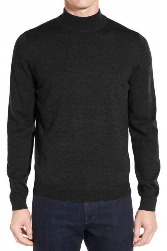 Pull anthracite en laine col cheminé