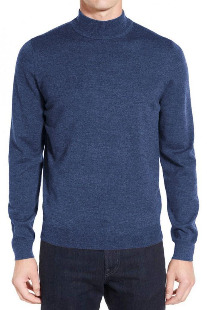Pull bleu en laine col cheminé