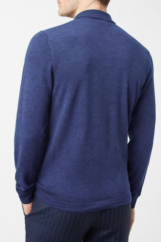 Pull bleu en laine col polo