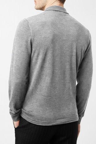 Pull gris en laine col polo