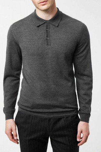 Pull anthracite en laine col polo