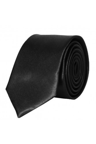 Cravate noir en Satin Slim