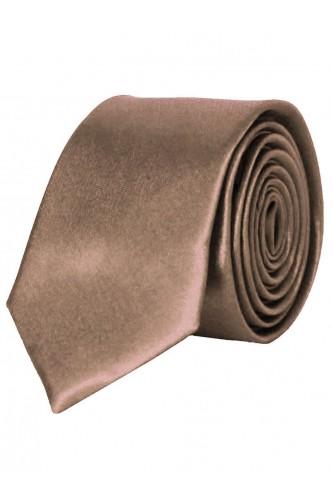 Cravate marron en Satin Slim
