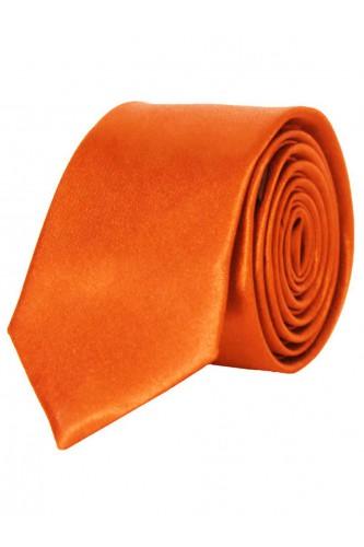 Cravate orange en Satin Slim