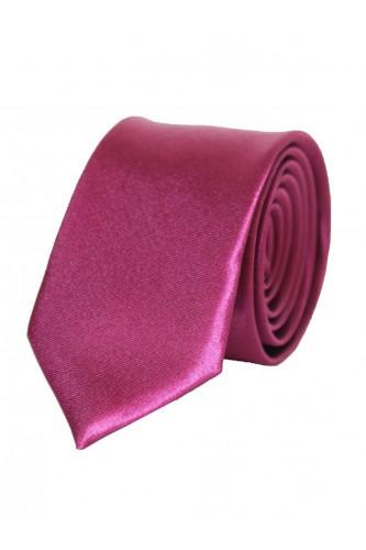 Cravate fuschia en Satin Slim
