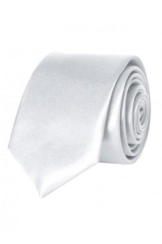 Cravate blanche en Satin Slim