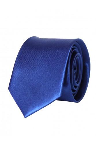 Cravate bleu en Satin Slim