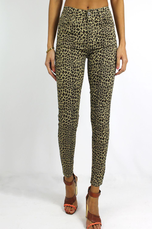 Jeans motifs léopard beige