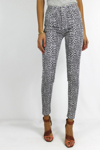 Jeans motifs léopard blanc