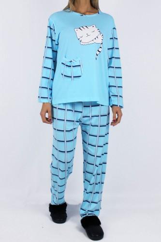 Pyjama cat bleu
