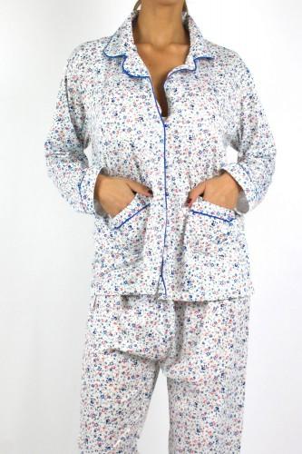 Pyjama à fleurs bleu pour femme