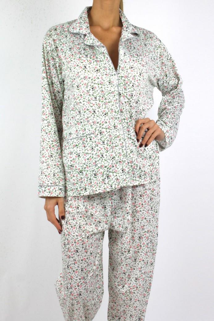 Pyjama à fleurs vert pour femme
