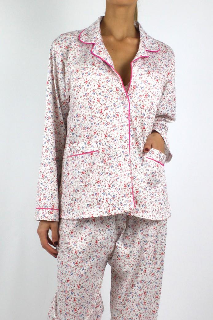 Pyjama à fleurs rose pour femme