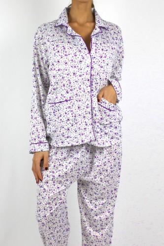 Pyjama à fleurs violet pour femme