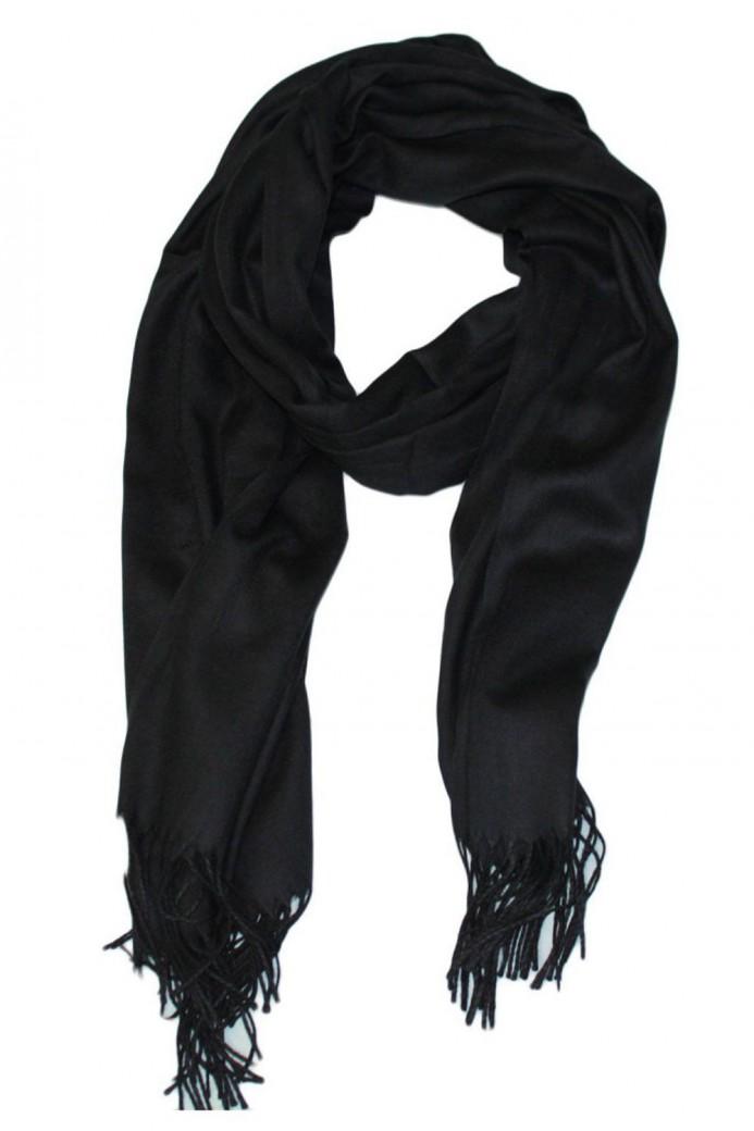 Echarpe uni en Laine de couleur noir
