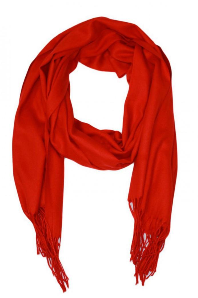 Echarpe uni en Laine de couleur rouge