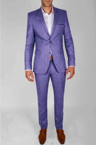 Costume en lin violet