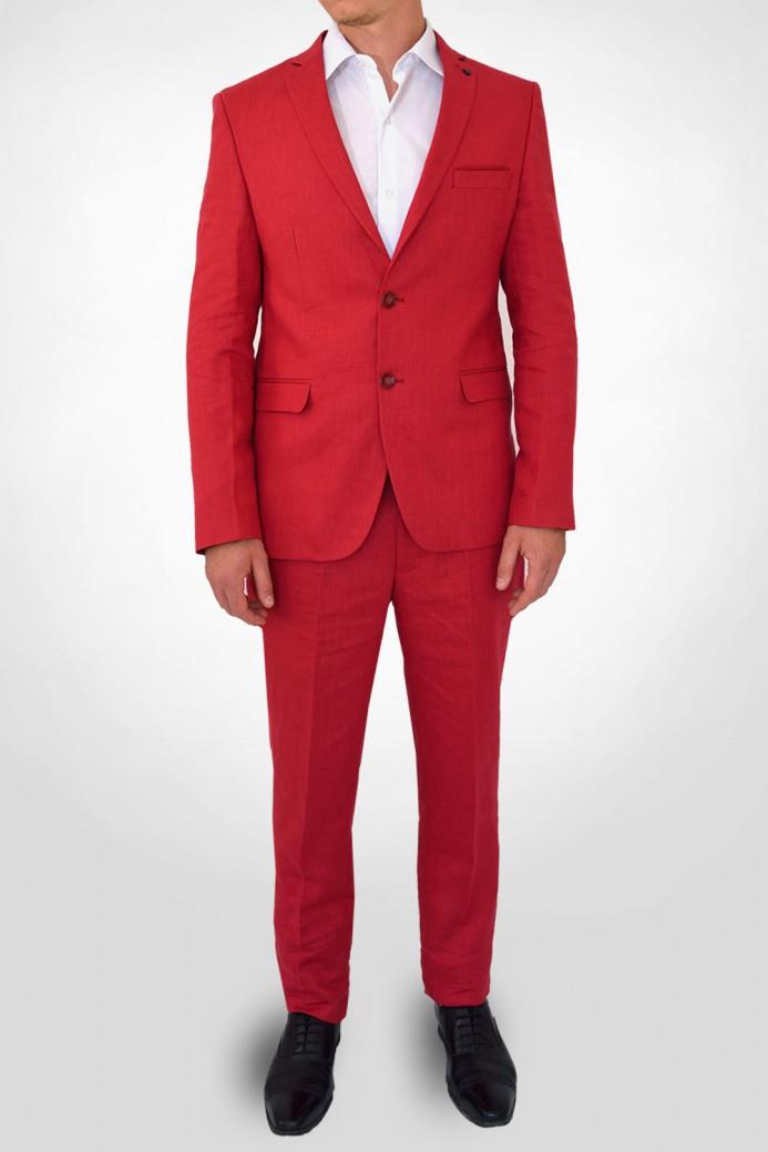 Costume en lin rouge
