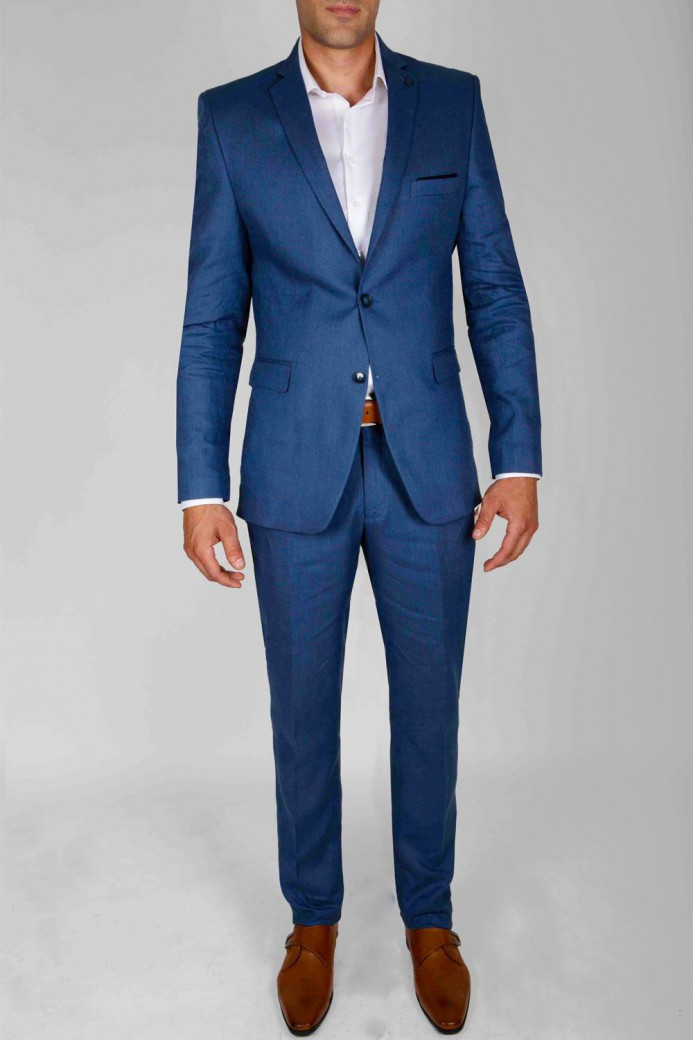 Costume en lin bleu