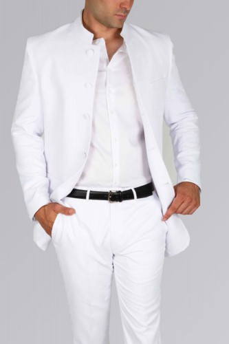 Costume col mao blanc