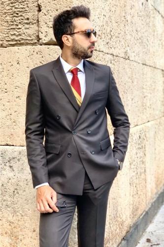 Costume croisé gris anthracite