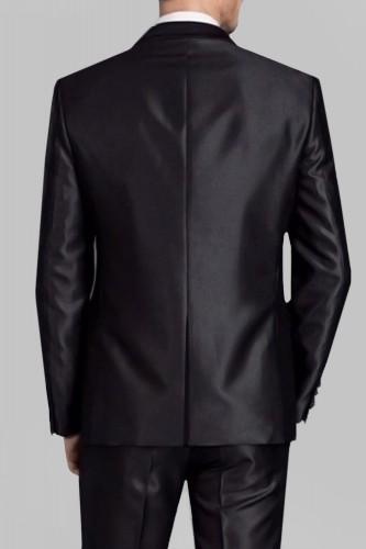 Costume noir en satin 2 boutons