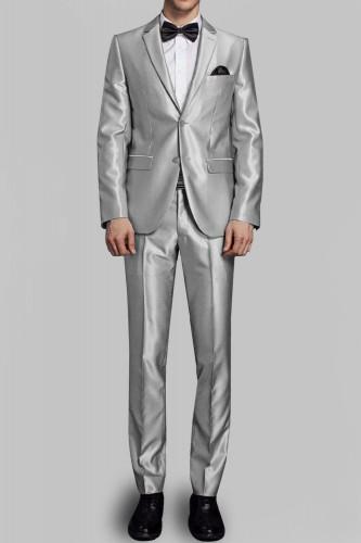 Costume gris en satin 2 boutons
