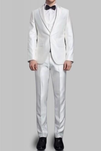 Costume blanc en satin 2 boutons