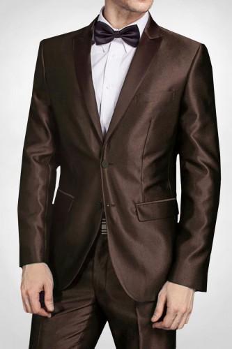 Costume marron en satin 2 boutons
