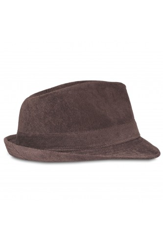 Chapeau trilby en velours marron