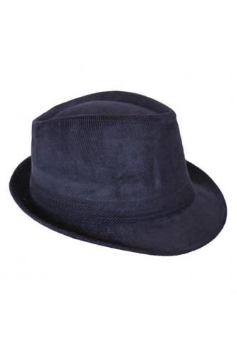 Chapeau trilby en velours bleu marine