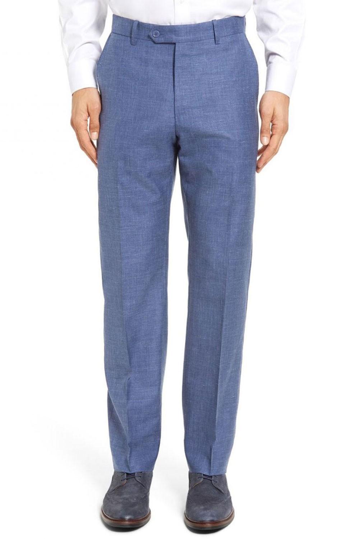Pantalon en lin bleu