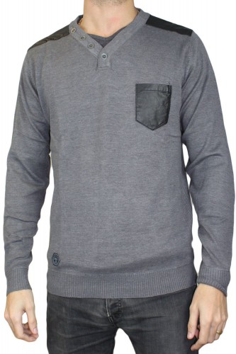 Pull gris col V RM60388