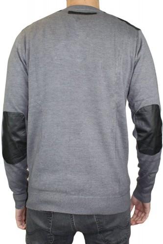 Pull gris col V RM60388