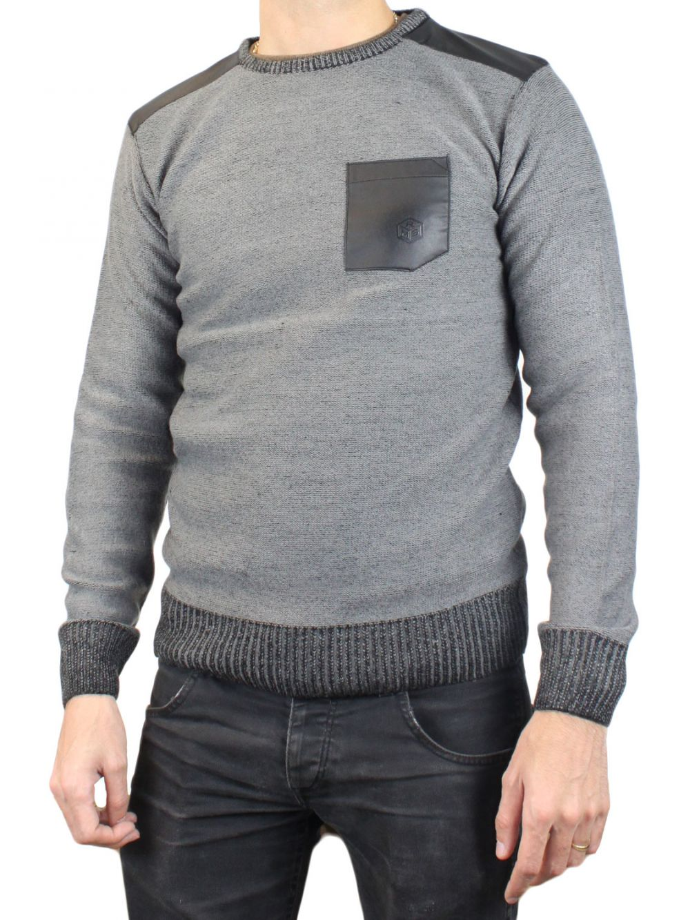 Pull gris col rond RM60459